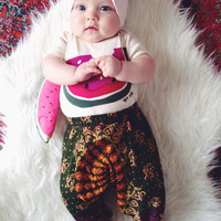 0-3 Months, Baby harem pants, floral baby girl leggings, children's leggings, tribal baby, hippie baby, bohemian baby shower gift