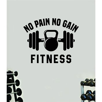 No Pain No Gain Fitness Gym Wall Decal Home Decor Bedroom Room Vinyl Sticker Art Teen Work Out Quote Beast Lift Strong Inspirational Motivational Health School