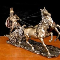 Roman Charioteer Statue with Chariot and Two Horses, Bonded Bronze 10L