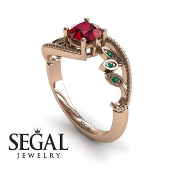 Unique Engagement Ring 14K Red Gold Leafs And Branches Victorian Ring Filigree Ring Ruby With Green Emerald - Audrey