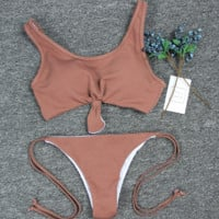 Sexy coffee chest knot two piece bath suit bikini vest type bottom side knot swimsuit (10 color)