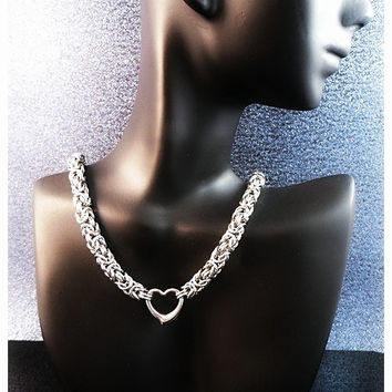 Day Collar - Stainless Steel Byzantine Sweetheart Collar - Choice of Lock or Clasp