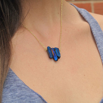 SHOP SALE - Cobalt Blue Crystal Necklace 24k Gold Chain