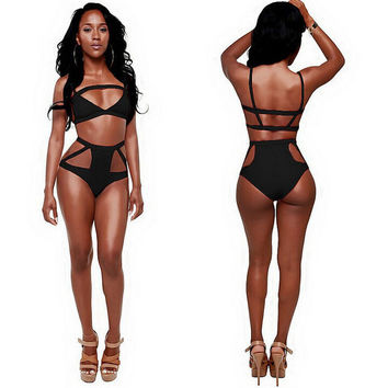 Sexy Hollow Out Hight Waist Bikini Set Swimsuit