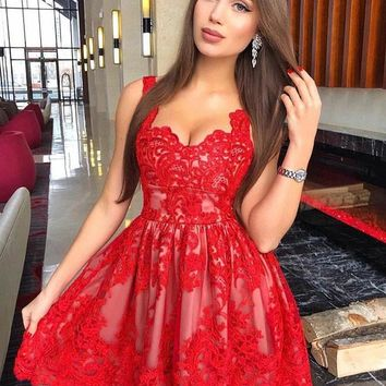 Red Lace Strap Tulle Pleats Short Homecoming Dress