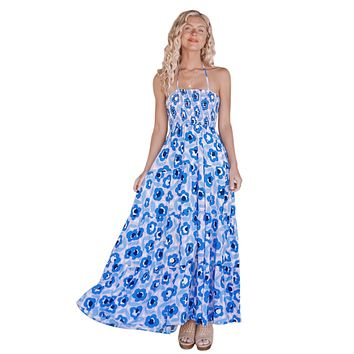 Sky Blue Floral Printed Summer Holiday Maxi Dress