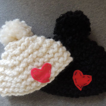 Chunky Heart Hat // wool pom pom applique baby toddler child chunky bulky knit hat