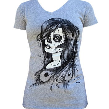 Death Feathers Womens V-Neck Tee