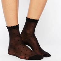 Monki Mesh Dot Socks at asos.com