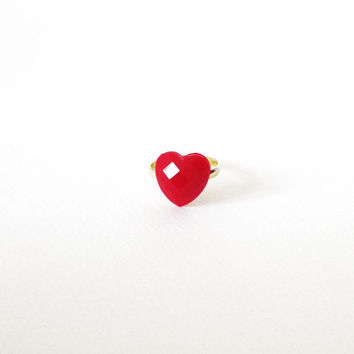 Tiny RED velvet HEART resin RING. Small romantic heart ring