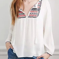 White Geometric Embroidered Long Sleeve Blouse