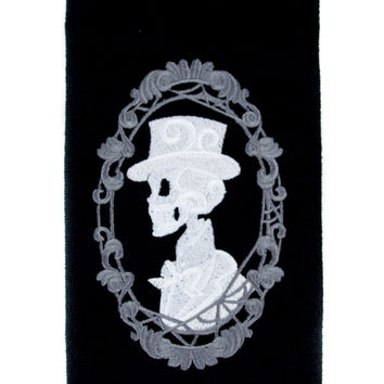 Haunted Mansion His Skeleton Halloween Hand Towel Kitchen and Bath Gothic Home Decor
