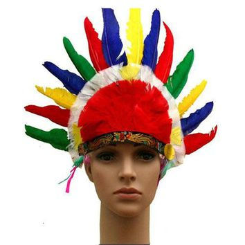 Adult & Children's Day Dress Up Cosplay Colorful Feather Headdress Cap Halloween Indian Headwear Indian Chiefs Hat