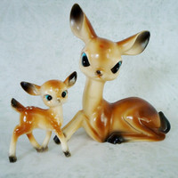 Vintage 1950s Christmas Reindeer Figurines Made in Japan, Vintage Christmas Fawn Figurines