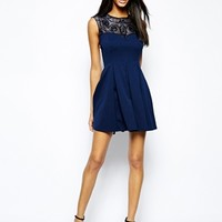 Lipsy Skater Dress with Embellished Mesh