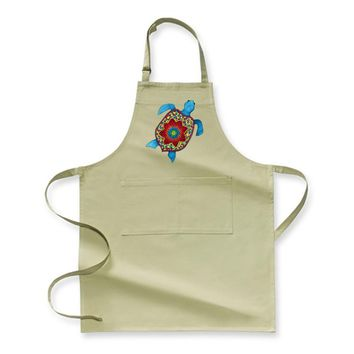 Turtley Awesome Mosaic Watercolor Turtle, Sea Turtles Apron
