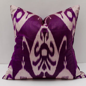 20x20 ikat pillow cover, purple pillow cover cushion case, pillowcase, pillow cover, ikat, cushion cover, throw pillow, accent pillow