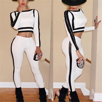 Women's Sexy Two Piece Outfit Fashion Black White Patchwork Women Jumpsuit Side Zipper Tracksuit Set Skinny Bodycon Jumpsuit
