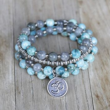 Hemimorphite and Labradorite Mala Necklace