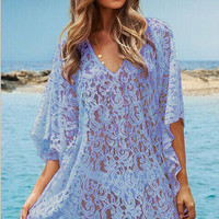 Blue Floral Crochet Deep V Bell Sleeve Cover Up Beachwear