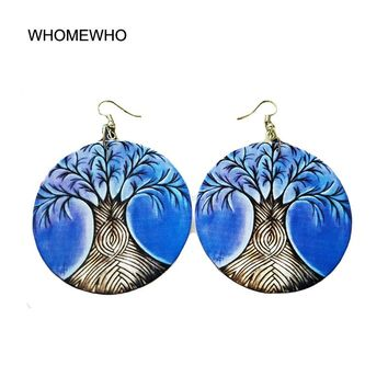 2019 Black Blue Painting Wood Africa Tree of Life Vintage Tribal Drop Earrings Wooden African Statement Bohemia Afro Ear Jewelry