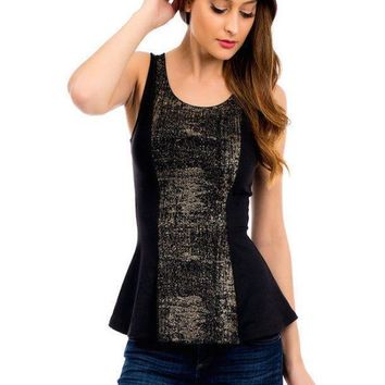 Black Peplum Glitter Panel Top