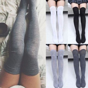 Warm Thigh High Socks, Over the Knee Cotton Stockings