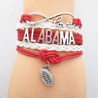 Love Alabama Football Infinity Bracelet