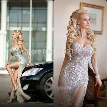 Luxury Champagne Sweetheart Sparkle Crystal Rhinestone Prom Dresses 2015 Sexy Evening Dress Side Split Long Prom Gowns XYR124