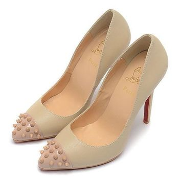 Christian Louboutin Fashion Edgy Rivets Sheep Skin Pointed Red Sole Heels Shoes