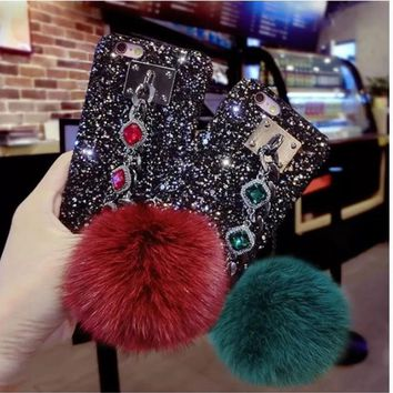 Glitter Fox Fur Ball Bling Bling Iphone Case