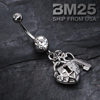 Heart Lock and Key Dangle Belly Button Navel Ring NEW Fashion Steel Body Jewelry