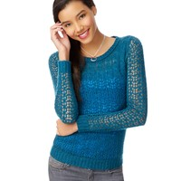 Sheer Cabled Crew Sweater - Aeropostale