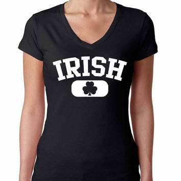 Irish Shamrock women Sporty V Shirt  saint patricks day