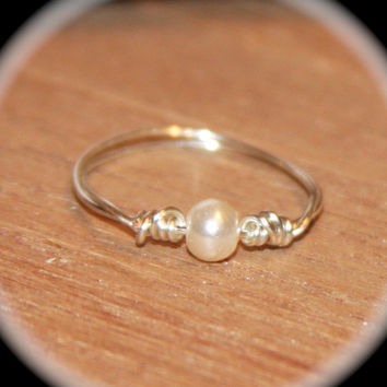 Delicate White Pearl Silver Thin Ring Handmade, Bridesmaid Gift, Knuckle Ring, Silver Stacking, Midi Ring, Silver Ring, Minimalist Ring