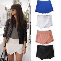 New Fashion Black White Women Wrap Mini Skort Skirt Irregular Laminated Flanging = 1946676676