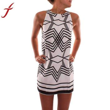women dressprinted o collar geometric studded beach sleeveless evening party mini dress