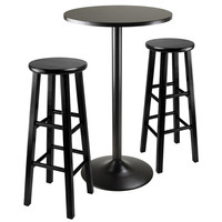 Obsidian 3pc Round Black Pub Table With Wood Stool And Squre Legs by Winsome Woods