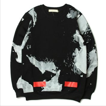 OFF-WHITE sweater white cloud inkjet graffiti stripes death flying skateboard plus cashmere coat men and women lovers-1