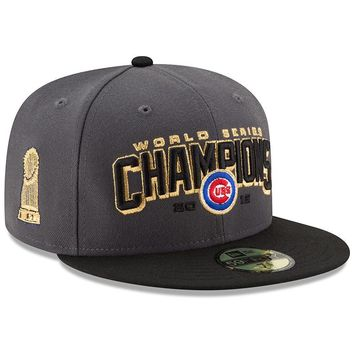 Chicago Cubs 2016 World Series Champions Gray / Black Two-Tone 59FIFTY Fitted Hat By New Era