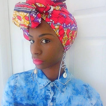 Red African headwrap - Ankara turban - Headwrap - African print turban - Wax print headwrap - tribal turban