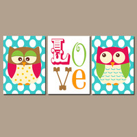 OWL Wall Art Nursery Canvas Artwork Girl Boy Twins Child LOVE Quote Polka Dot Pattern Set of 3 Trio Prints Baby Bedding Crib Decor Three