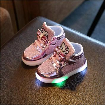 KKABBYII  New Baby Girls LED Light Shoes Anti-Slip Sports Kids Sneakers Children's Hello Kitty Chaussure Enfant Size 21-30