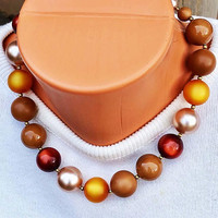 Choker Bead Necklace in Vibrant Fall Colors Vintage - Short Necklace Large Beads in Fall Colors Vintage