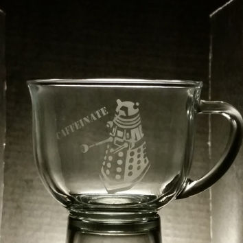 Doctor Who Dalek Inspired Caffeinate Large Etched Glass Coffee Mug Doctor Who Inspired Glassware