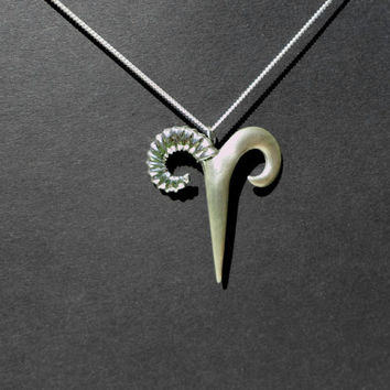 Aries sign jewelry Ram horns, necklace sterling silver horns fine jewelry unisex gift zodiac neclace, ram horn, christmas gift