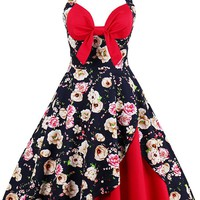 Atomic Black and Red Vintage Floral Dress