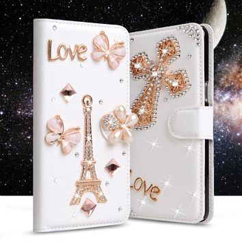 Grand Prime Case Luxury Rhinestone PU Leather Cover For Samsung Galaxy Grand Prime G530 Phone Cases Stand Flip Wallet Card Slot