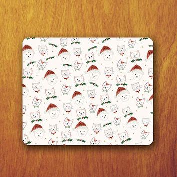 Cat Christmas Cartoon Mouse Pad Red Hat Santa Cute Animal Winter Season Office Desk Accessory Decoration Gift Teacher Gift