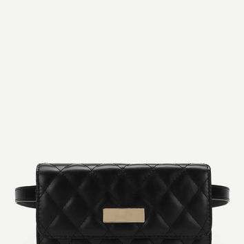 Quilted Detail Flap Waist Bag